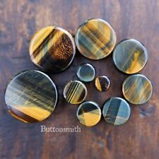"Pair of Blue Tigers Eye Organic Stone Plugs  - Double Flared - 2g - 1"" 10 sizes"