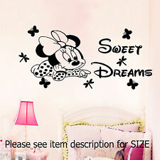 Disney Minnie Mouse Sweet Dreams Wall Quote Vinyl Stickers Decal Girl's Room Art