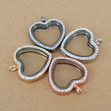 Living Memory Locket Crystal love heart Necklace Floating Charm Pendant Charms e