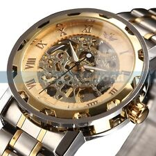 Mens Transparent Steampunk Skeleton Mechanical Man Stainless Steel Wrist Watch