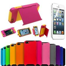 DUAL LAYER HYBRID SHOCKPROOF CASE IPHONE 5G 5S CREDIT CARD HOLDER WITH STAND/NEW