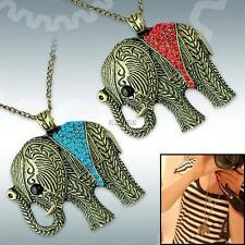 Retro Vintage Style Fashion Rhinestone Elephant Pendant Long Chain Necklace