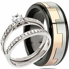His Hers 3PCS Sterling Silver 2-Tone Stainless Steel Engagement Wedding Ring Set