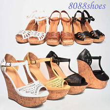 Summer Peep Toe Open Toe Cut Out  Cork Platform Wedge Sandal Shoes Size 5.5 - 11