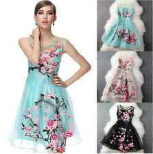 Ladies Women Retro Organza Embroidery Sleeveless Prom Cute Princess Floral Dress