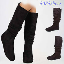 Women's Cute  Comfrom Flat Heel Mid-Calf Knee High Boot Shoes Size 5 -10 NEW