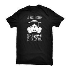 Go Back to Sleep Tee Occupy Anonymous Gas Mask T-Shirt + Anti Govt Sticker Pack!