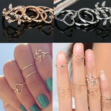 4PCS/Set New Urban Gold Plated Crystal Plain Above Knuckle Rings Band Midi Ring