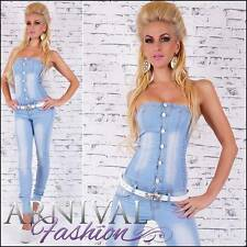 NEW SEXY LADIES JEANS OVERALL with BELT WOMENS DENIM JUMPSUIT PANTS hot boob top