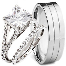 3 pc His/Her STERLING SILVER and Stainless Steel Engagement Wedding Ring Set NEW