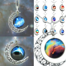 New Hot Womens Crescent Moon Galactic Universe Glass Cabochon Pendant Necklace