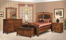 Amish Mission Raised Panel Bedroom Set Solid Wood Furniture King Queen