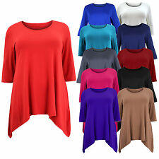 Ladies Womens Plus Size Three Quarter Sleeve Asymmetric Tunic