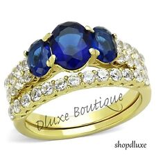 Women's Oval Cut Blue Montana AAA CZ 14k Gold Plated Wedding Ring Set Size 5-10