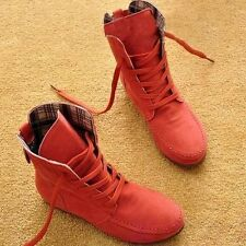 Women Spring/Autumn Flat Ankle Boots Suede Leather Lace-Up Martin Boot XWX108