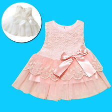 Fashion Kids Girls Lace Floral Print Bow Decor Tulle Layered Princess Dress Cute