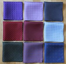 HAND PRINTED SILK POCKET SQUARE HANDKERCHIEFS. ASSORTED COLOURS. HAND MADE NEW