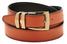 Reversible Belt Bonded Leather with Removable Gold-Tone Buckle ORANGE / Black