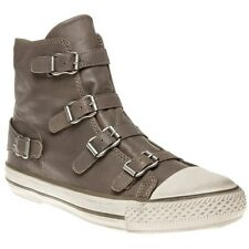 New Womens Ash Grey Virgin Leather Boots Ankle Buckle Zip