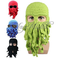 Unisex Octopus Winter Warm Knitted Wool Ski Face Mask Hat Squid Cap Beanie J