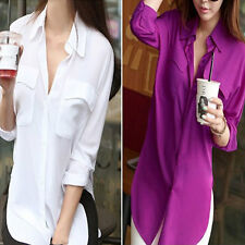 Brand Women Long Sleeve Chiffon Shirt Casual Loose Pocket Blouse Purple