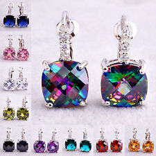 Amethyst Morganite Peridot White & Green & Pink Topaz Garnet New Silver Earrings