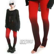 Unisex Ultra Long Gathered Ruched Punk Rocker Dip Dye Red Ombre Cotton Legging