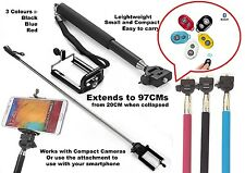 Camera Self Portrait Extendable Telescopic Handheld Pole Arm Monopod+Phone Clamp