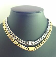 set of 6 or 12 stainless steel or gold plated cuban link chain box lock 8mm-12mm