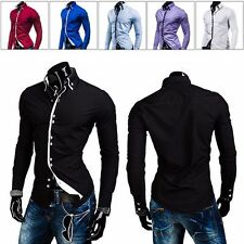 PODOM Mens Luxury Stylish Casual Dress Slim Fit Contrast Color T-Shirts 5Color