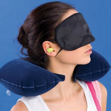 3 PCS Travel Car Suit Sleeping Inflatable Neck Air Pillow Eye Mask Ear Plug Kit