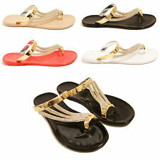 LADIES WOMENS JELLY TOE POST SUMMER FLIP FLOPS JEWEL SANDALS SHOES SIZE 3-8