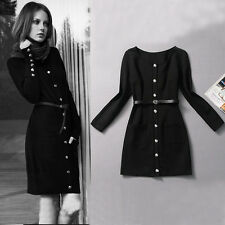 Victoria Beckham Style  Autumn Military Uniform Style Single-breasted Dress New