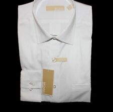 Michael Kors mens 100% Cotton Slim Fit Solid White Dress Shirt NWT $55