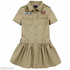 NWT Ralph Lauren Girls Military Inspired Patch Twill Dress
