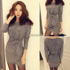 Long Sleeve Winter Fall Dress With Belts Mini Round Neck Women Wraps Skirt Party