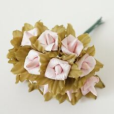 24 Rustic Paper Roses Flowers Bouquet Burgundy Ivory Pink Peach Wedding Crafts