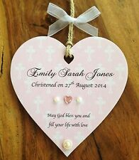 Wooden Personalised Heart Plaque Baby Boy Girl Christening Gift Door Sign 12cms