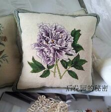 "14"" Vintage Hand Stitched Needlepoint Pillow - Beautiful Flowers"
