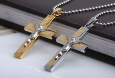 Unisex 316L Stainless Steel Gold JESUS Crucifix Cross Pendant Necklace Box P66