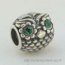 Sterling Silver European 925 Charm Owl Wise Guy Hoot Green CZs Eyes Bead 99009