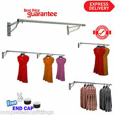 32mmGARMENT CLOTHES RAIL WALL MOUNTED HANGING RAIL DISPLAY 4ft 5ft 6ft TUBING