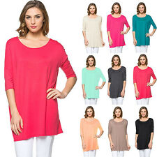 IRON PUPPY Women Piko Top Style Half/Slv BoatNeck Dolman Tunic Loose Fit Shirts