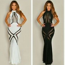 Free ship HL816 off-shoulder maxi noble white black evening party dress 2 colors
