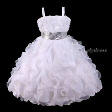 NEW Flower Girl Wedding Pageant Party Bridesmaid Dress Wears White SZ 5-10 Q520