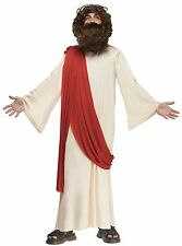 Boys Jesus Costume with Wig Beard Crown of Thorn Biblical Robe Belt Childs Kids