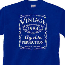"31st BIRTHDAY Blue T-Shirt OLD WESTERN Style ""Vintage 1984"" 31 Year BDay Gift"