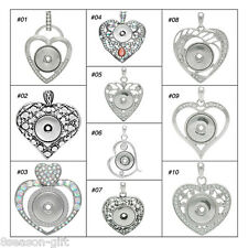 1PC Charm Pendant Fit Snap Buttons Love Heart Rhinestone