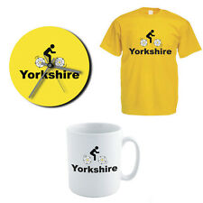 YORKSHIRE CYCLING Gift Set - County / Rose / Novelty/ Men's T-shirt / Clock /Mug
