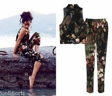 RiHANNA RI SEXY FLORAL VELVET CROP TOP TROUSERS PANTS 6 8 10 12 14 XS S M L XL